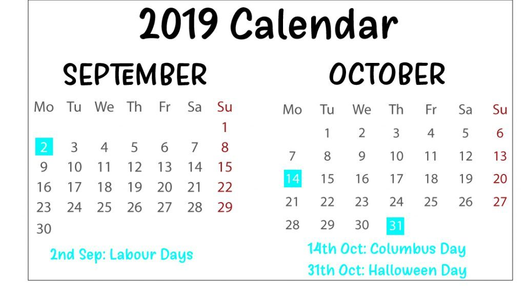 Free September & October 2019 Calendar