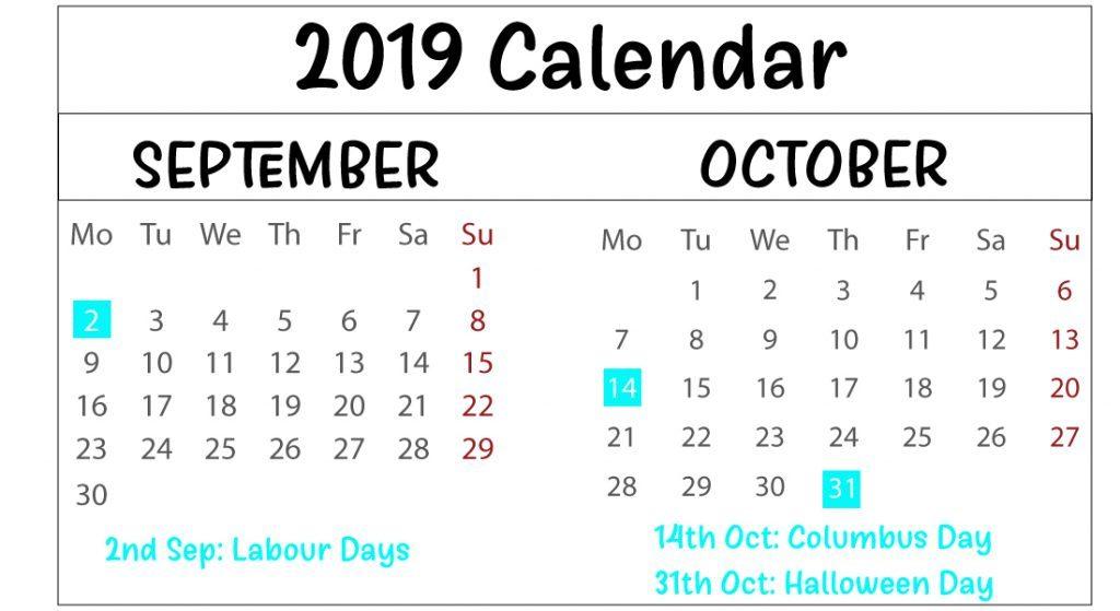 September & October 2019 Printable Calendar