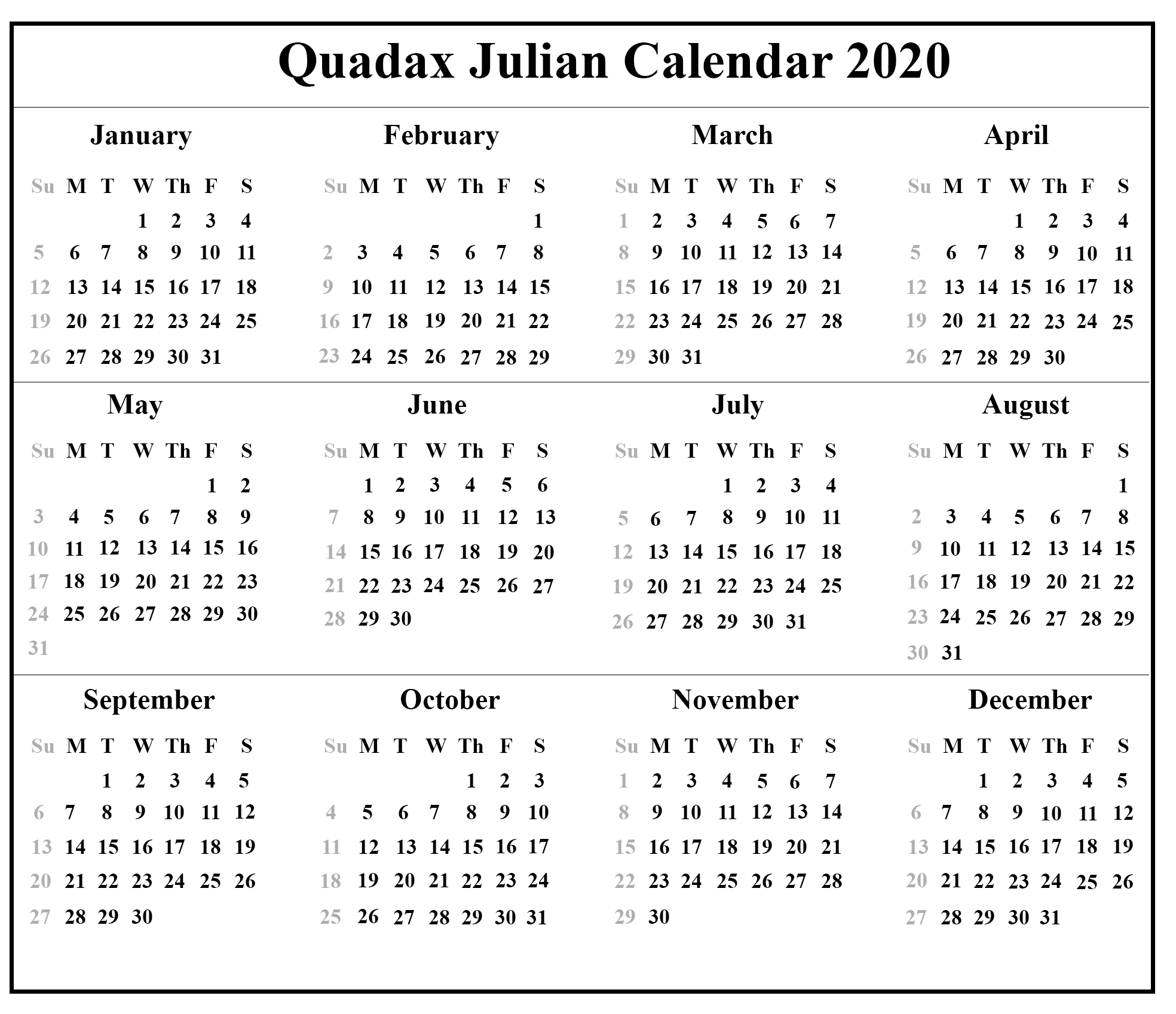 free printable julian calendar 2020 template