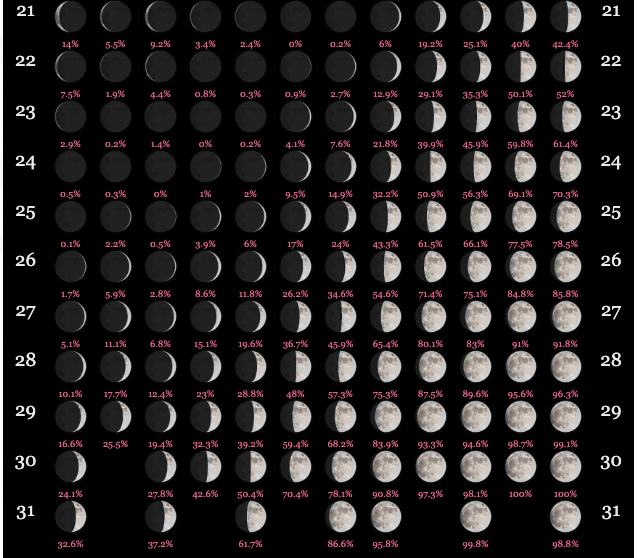 Moon Cycle Calendar 2020 Lunar Calendar 2020 | Full Moon Calendar 2020 | Printable Calendar DIY