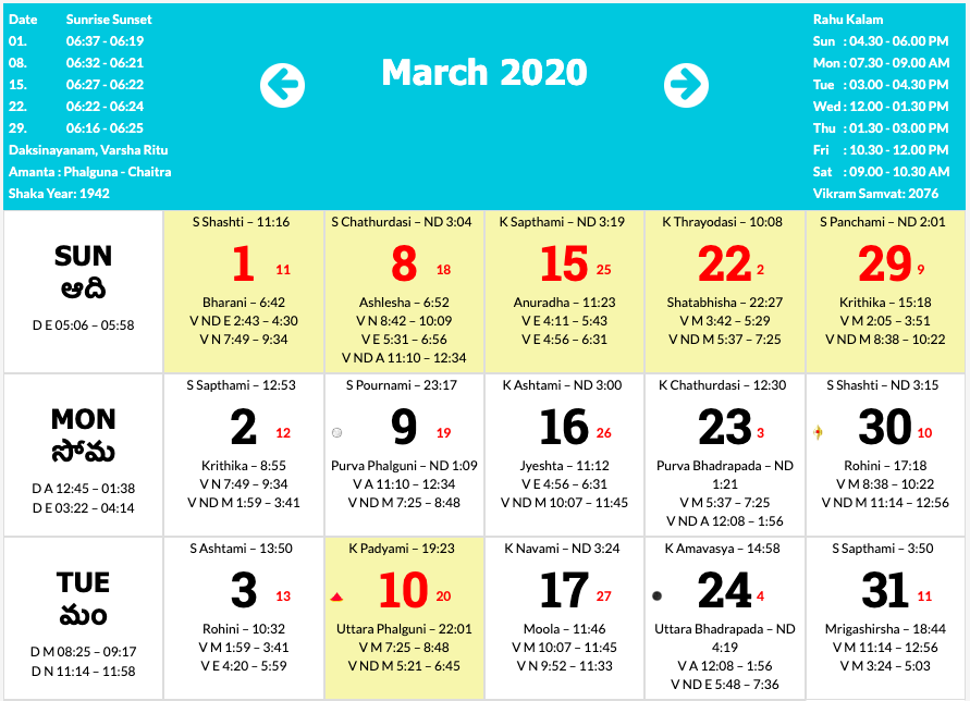 Telugu Calendar 2020 April Telugu Calendar 2020 – January to December 2020 | Printable