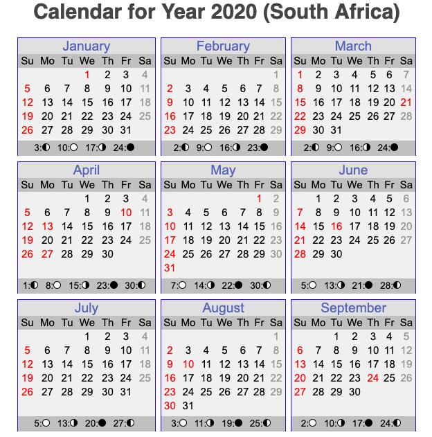 Free Printable 2020 Calendar With Holidays South Africa.Free Printable South African Calendar Template 2020 Printable