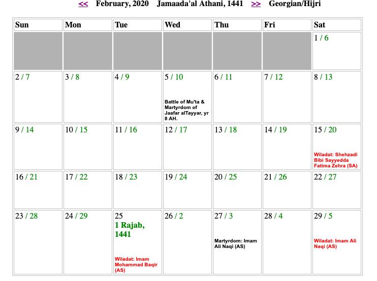 February Shia Calendar 2020