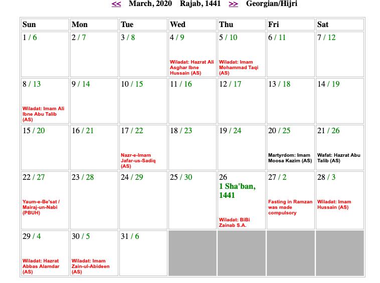 March Shia Calendar 2020
