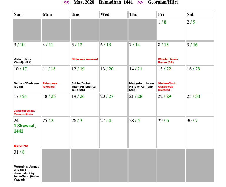May Shia Calendar 2020