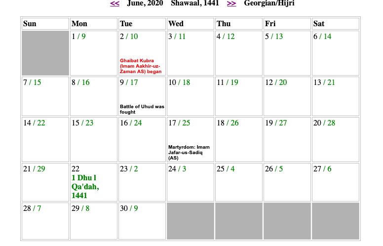 June Shia Calendar 2020