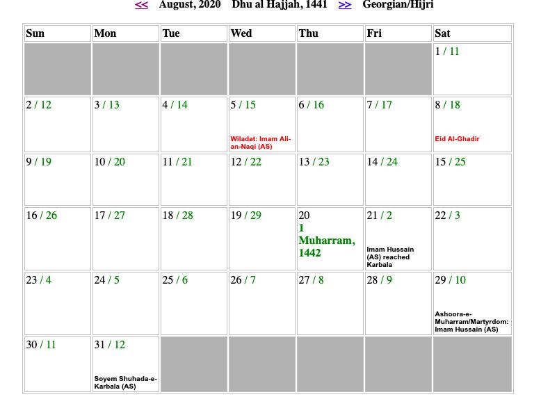 August Shia Calendar 2020