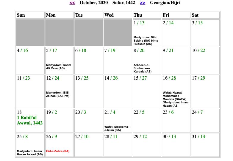 October Shia Calendar 2020