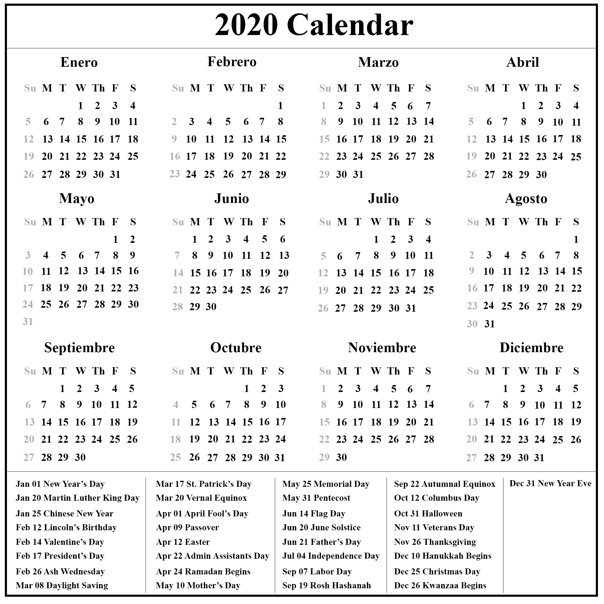Calendario Lunar 2020.Free Printable Spanish Calendar 2020 2020 Calendario