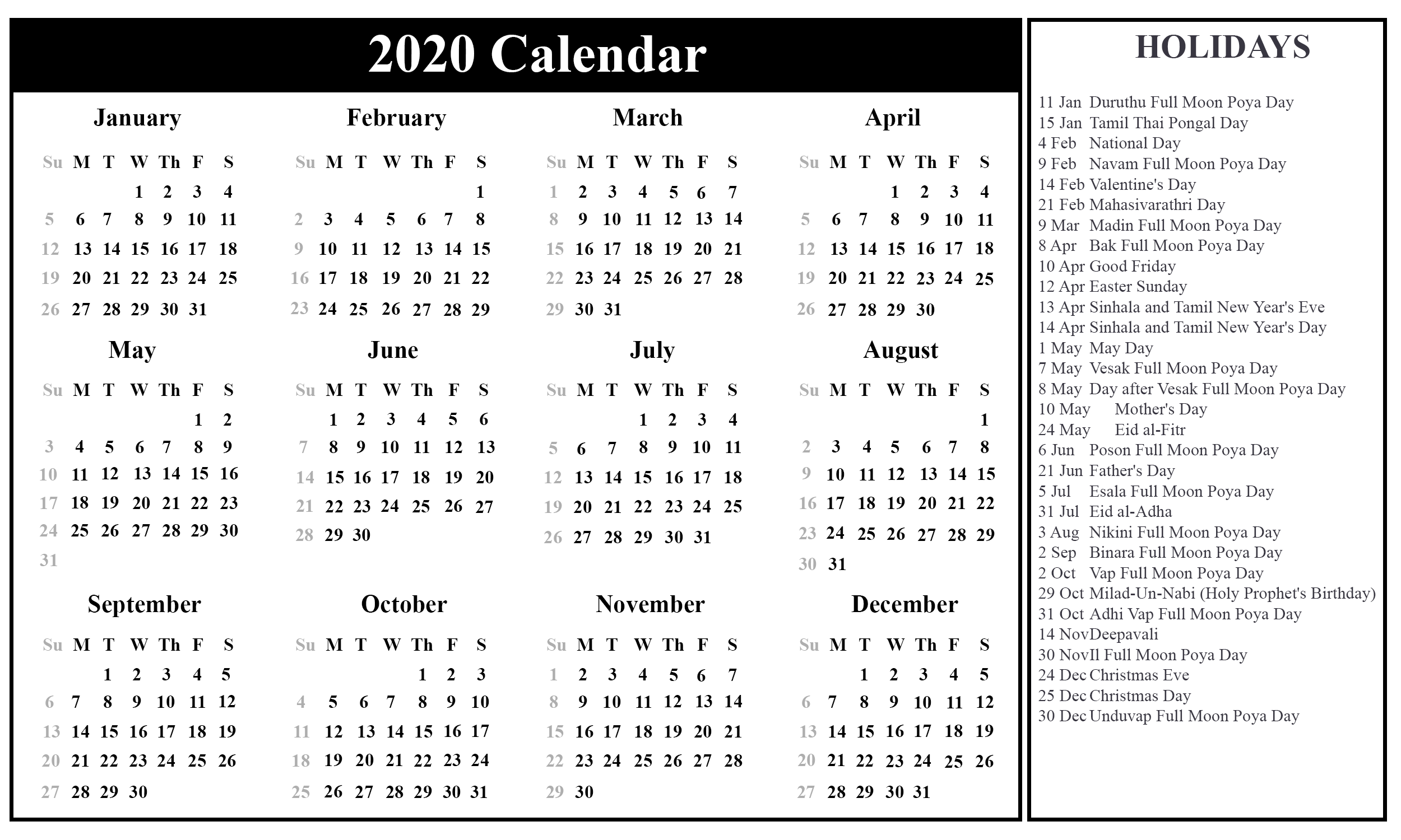 New York Bank Holidays 2020 Free Printable Sri Lanka Calendar 2020 with Holidays in PDF