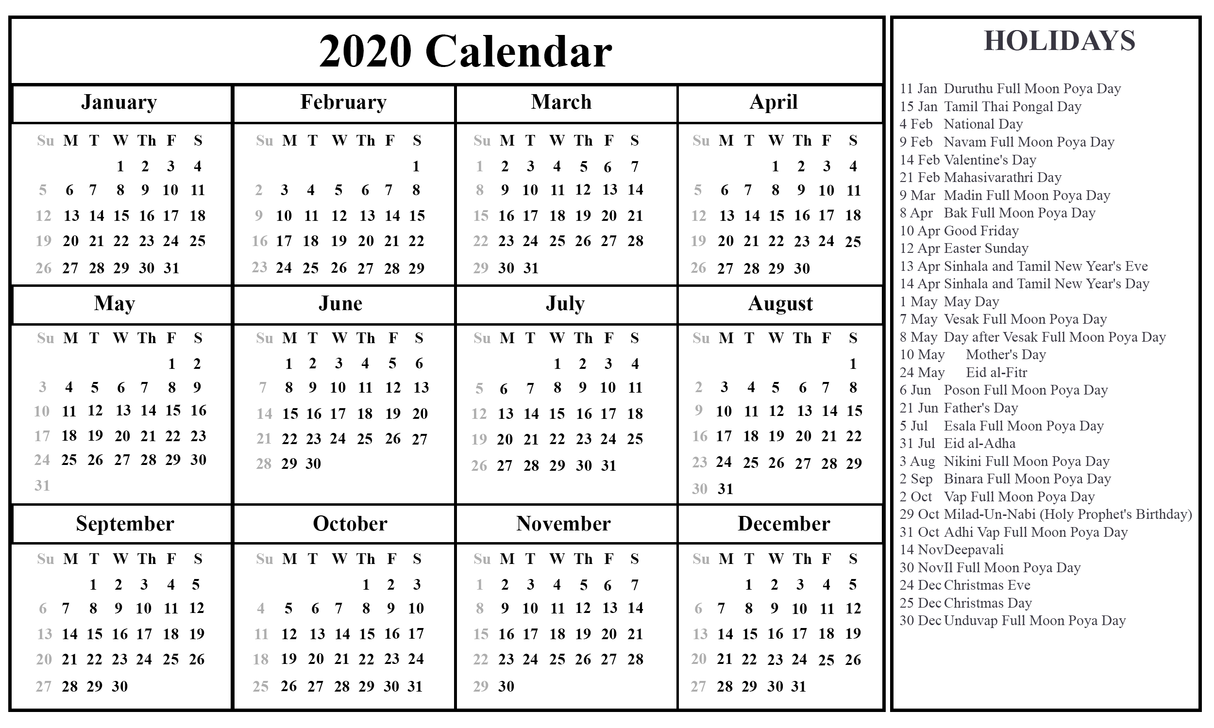 Free Printable Sri Lanka Calendar 2020 with Holidays in PDF