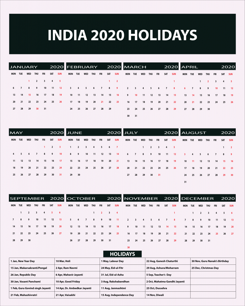 Calendar Holidays.Indian Public Holidays 2020 Calendar Indian Holidays 2020