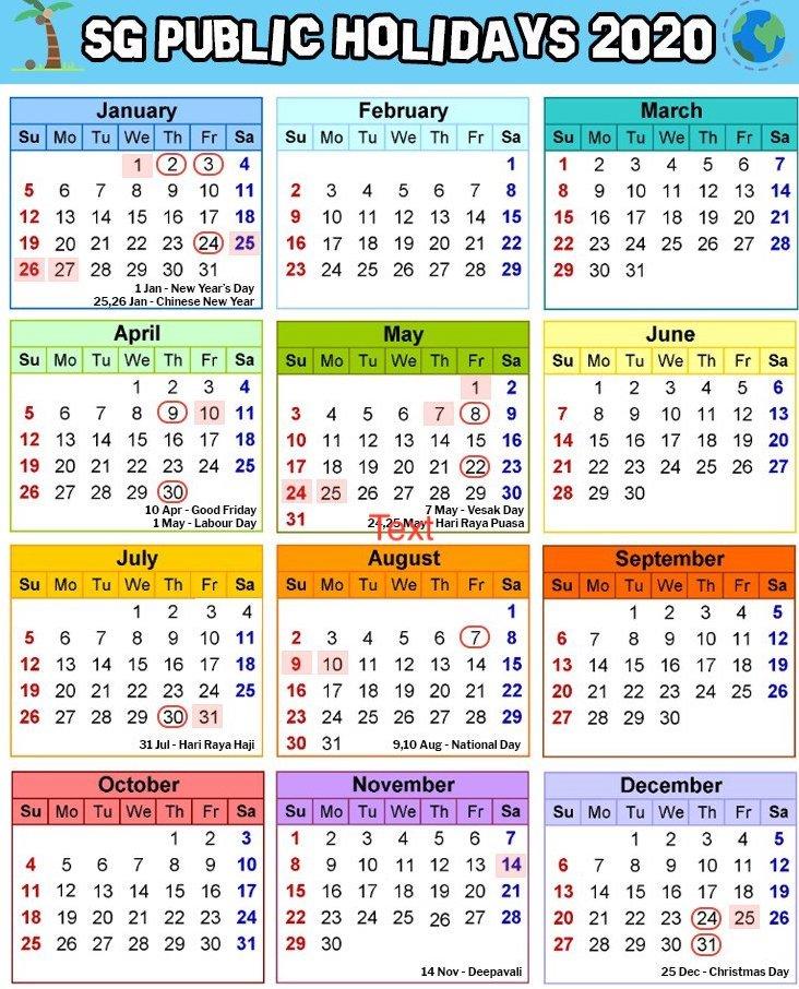 Singapore Holidays 2020 Calendar