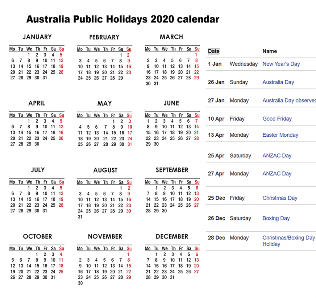 Australia Public Holidays 2020