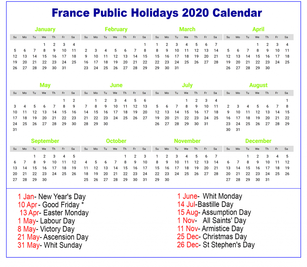 France 2020 Holiday Calendar