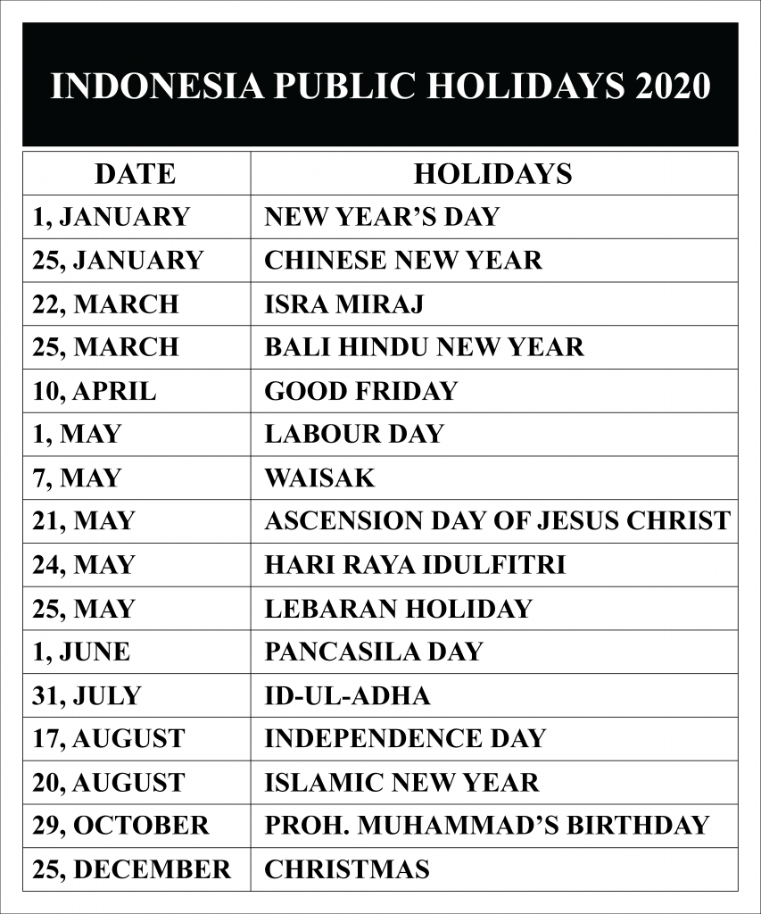 Indonesia Public Holidays