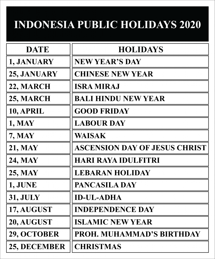 Indonesia Holidays 2020