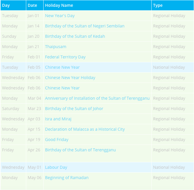 Malaysia Holidays 2020 Calendar