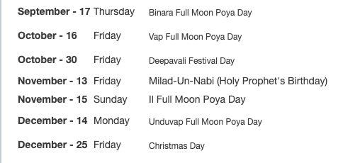 Public Holidays in Sri Lanka 2020
