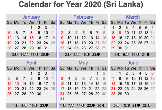 Sri Lanka 2020, Public Holidays in Sri Lanka