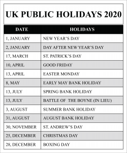 Public Holidays in United Kingdom