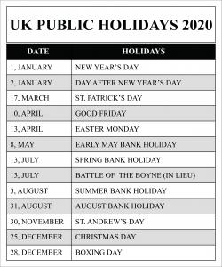 UK Public Holidays 2020