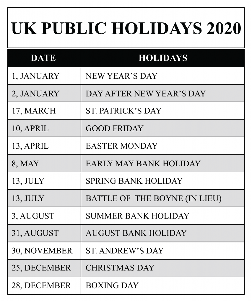 UK Public Holidays 2020