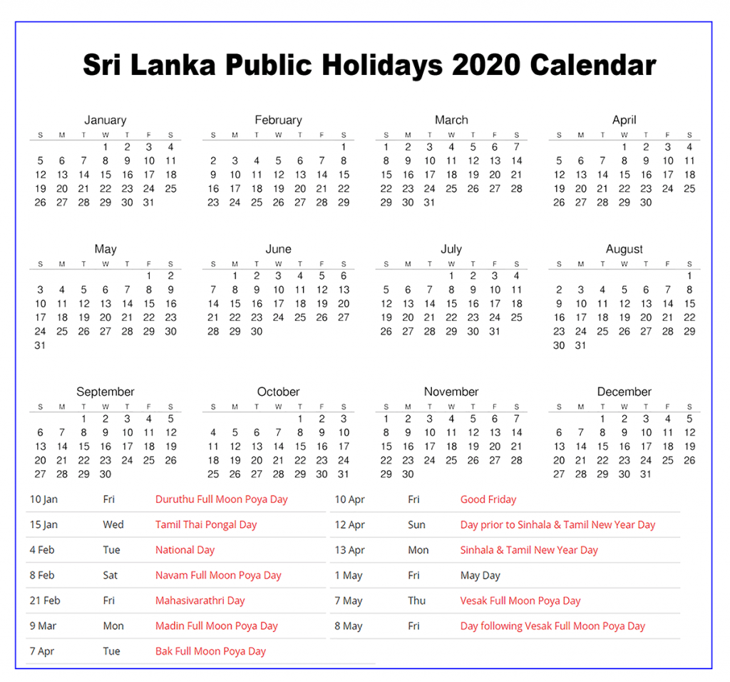 Sri Lanka 2020 Holiday Calendar