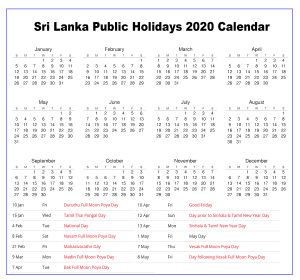 Sri Lanka 2020 Holiday Calendar