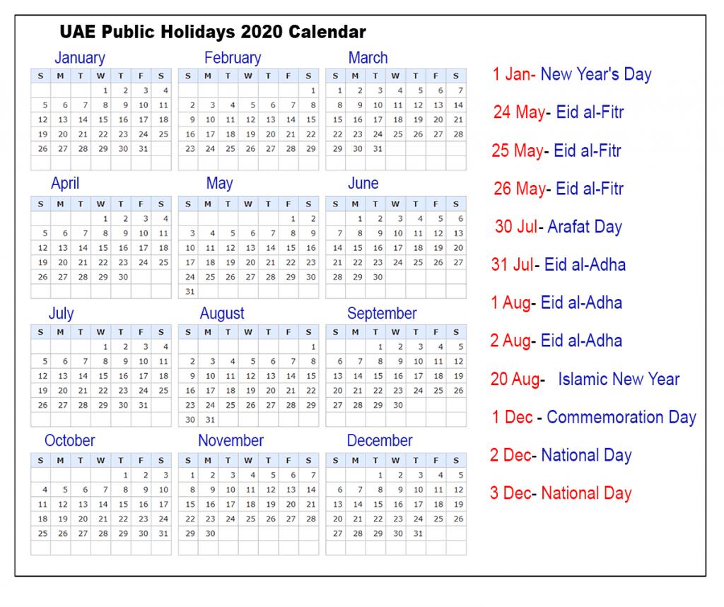 UAE Public Holidays 2020