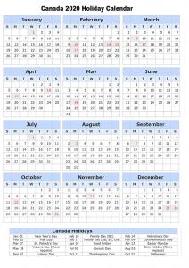 Canada 2020 Holiday Calendar