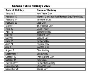 Canada 2020 Public Holiday Calendar