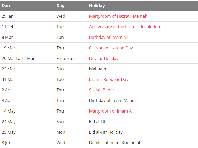 Public Holiday in Iranian