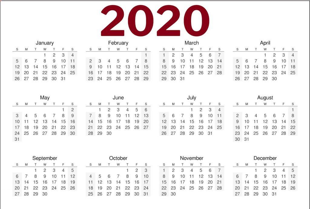 Printable One Page Calendar