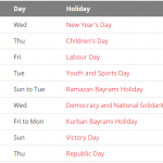 Public Holiday in Turkey