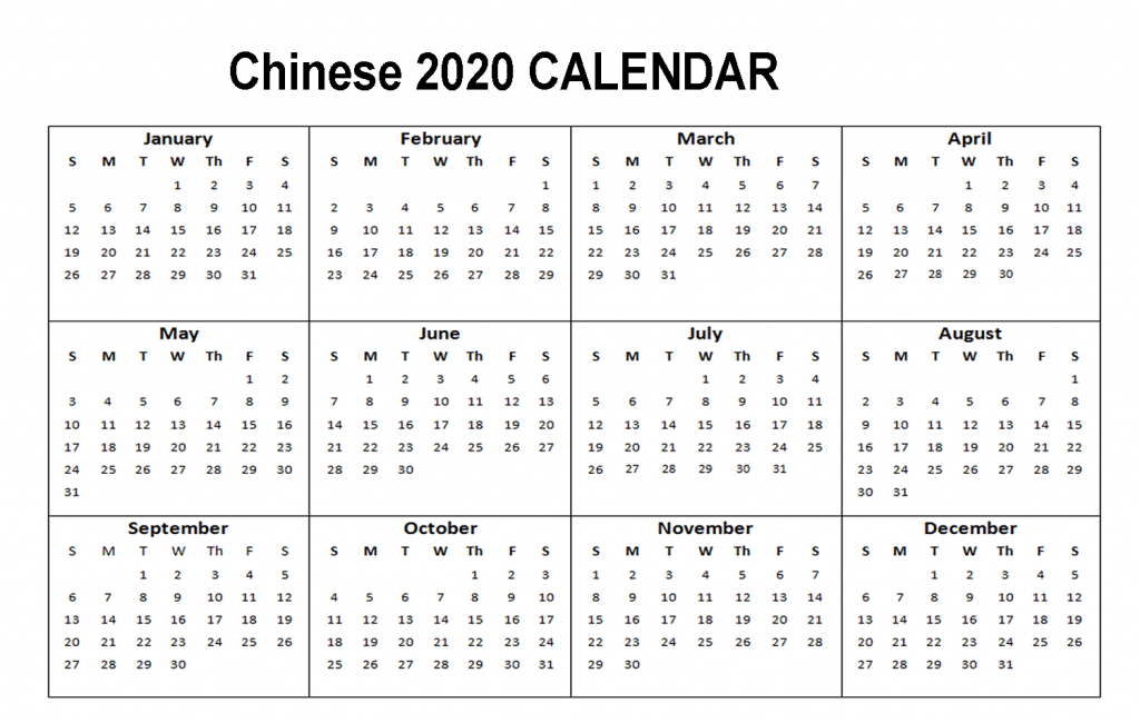 Chinese 2020 Holiday Calendar