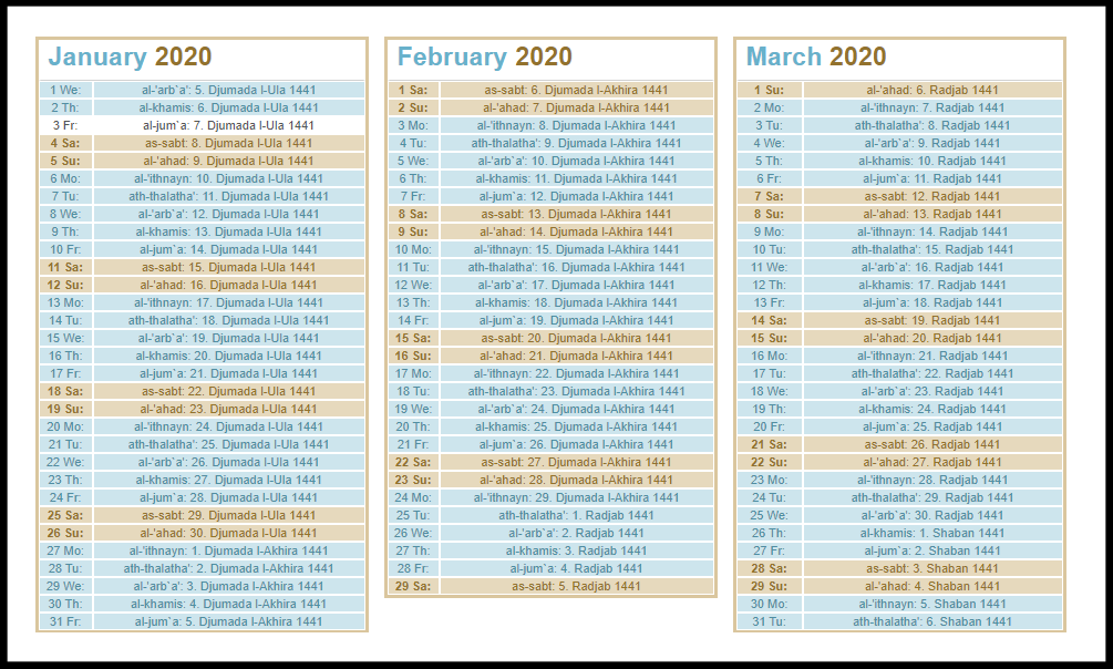Muslim Calendar2020