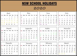 Calendar 2020 Templates With NSW Holidays