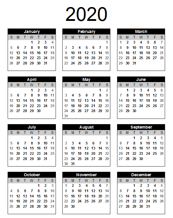 2020 One Page Calendar