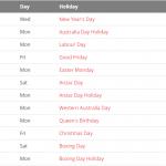 Perth 2020 Holiday Calendar