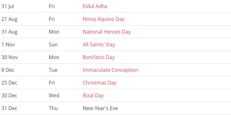Philippine 2020 Public Holiday Calendar