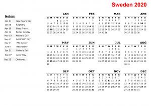 Printable Calendar 2020 with Sweden Holidays