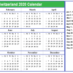 Printable Calendar 2020 with Switzerland Holidays