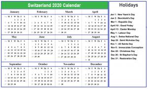 Printable Calendar 2020 with Switzerland Holidays