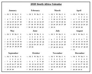Printable South Africa Calendar 2020