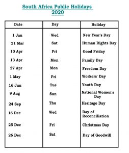 SA 2020 Public Holidays