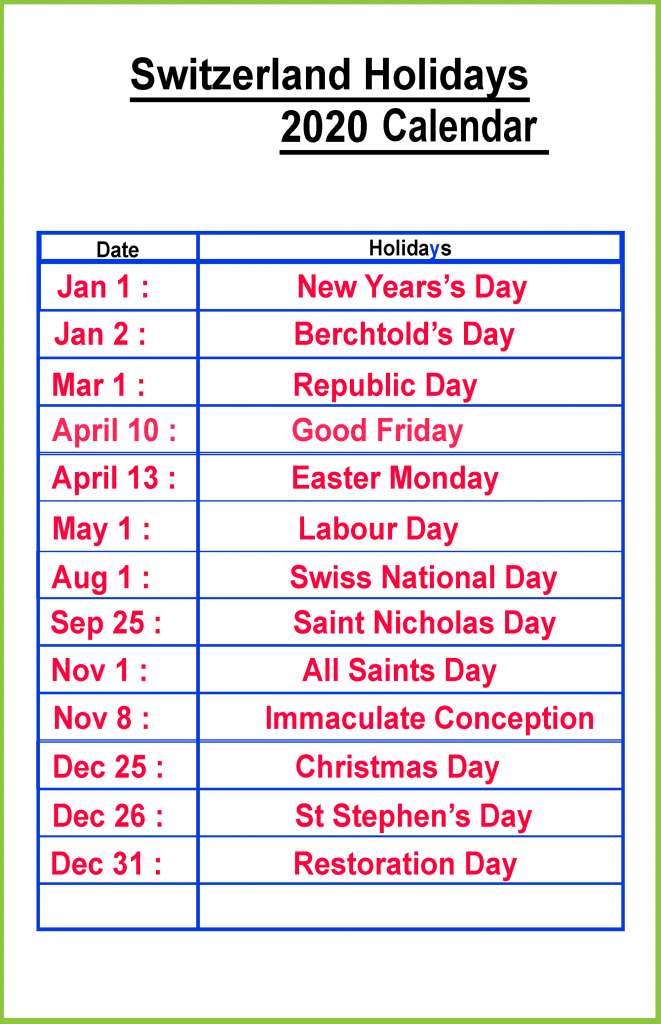 Public Holidays In Switzerland 2020