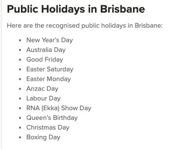 Brisbane Public Holidays 2020