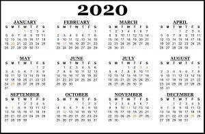 South Africa 2020 Calendar