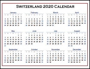 Switzerland 2020 Printable Calendar